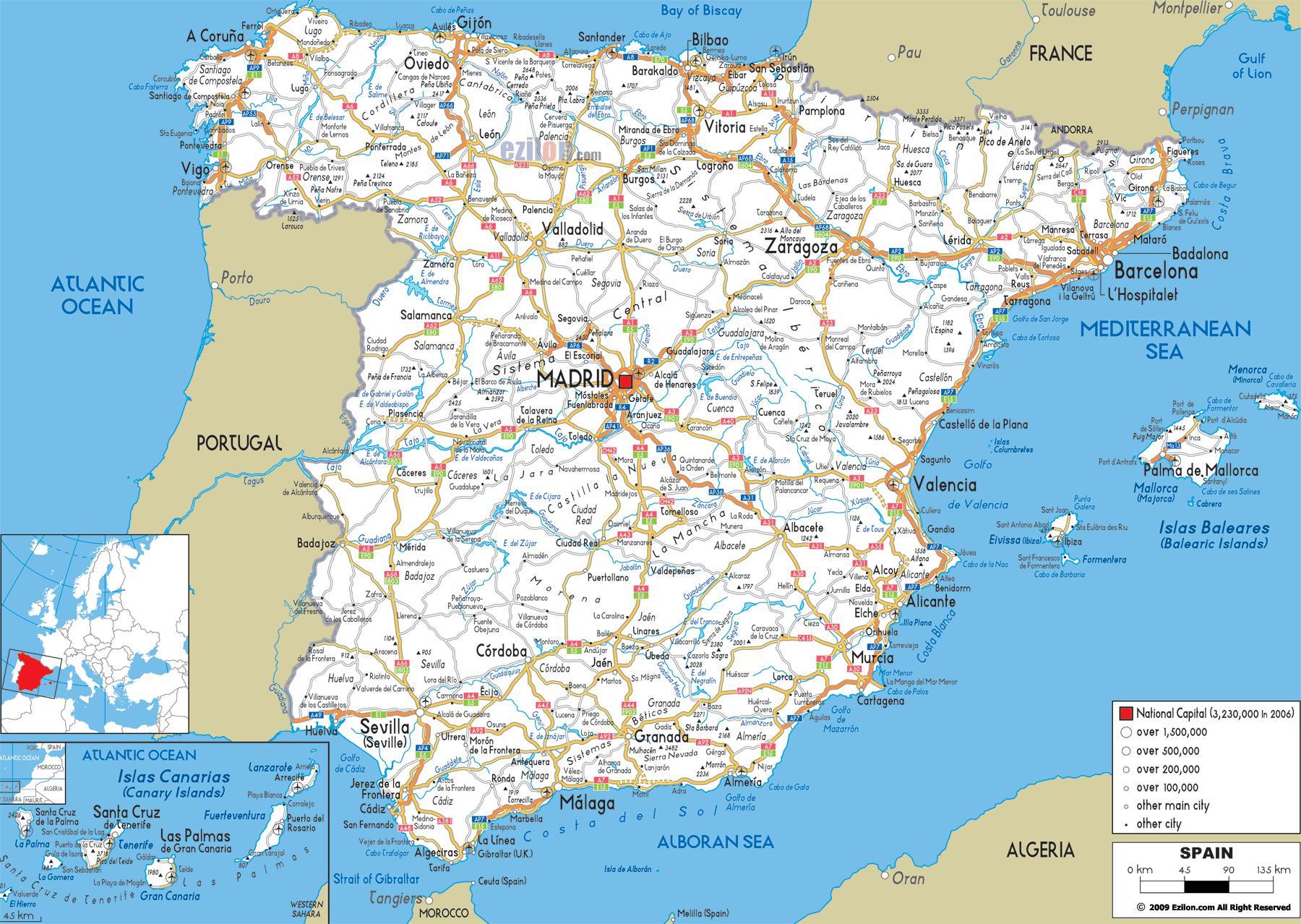 Spagna Nord Cartina.Guida Mappa Di Spagna Cartina Della Spagna Di Guida Europa Del Sud Europa