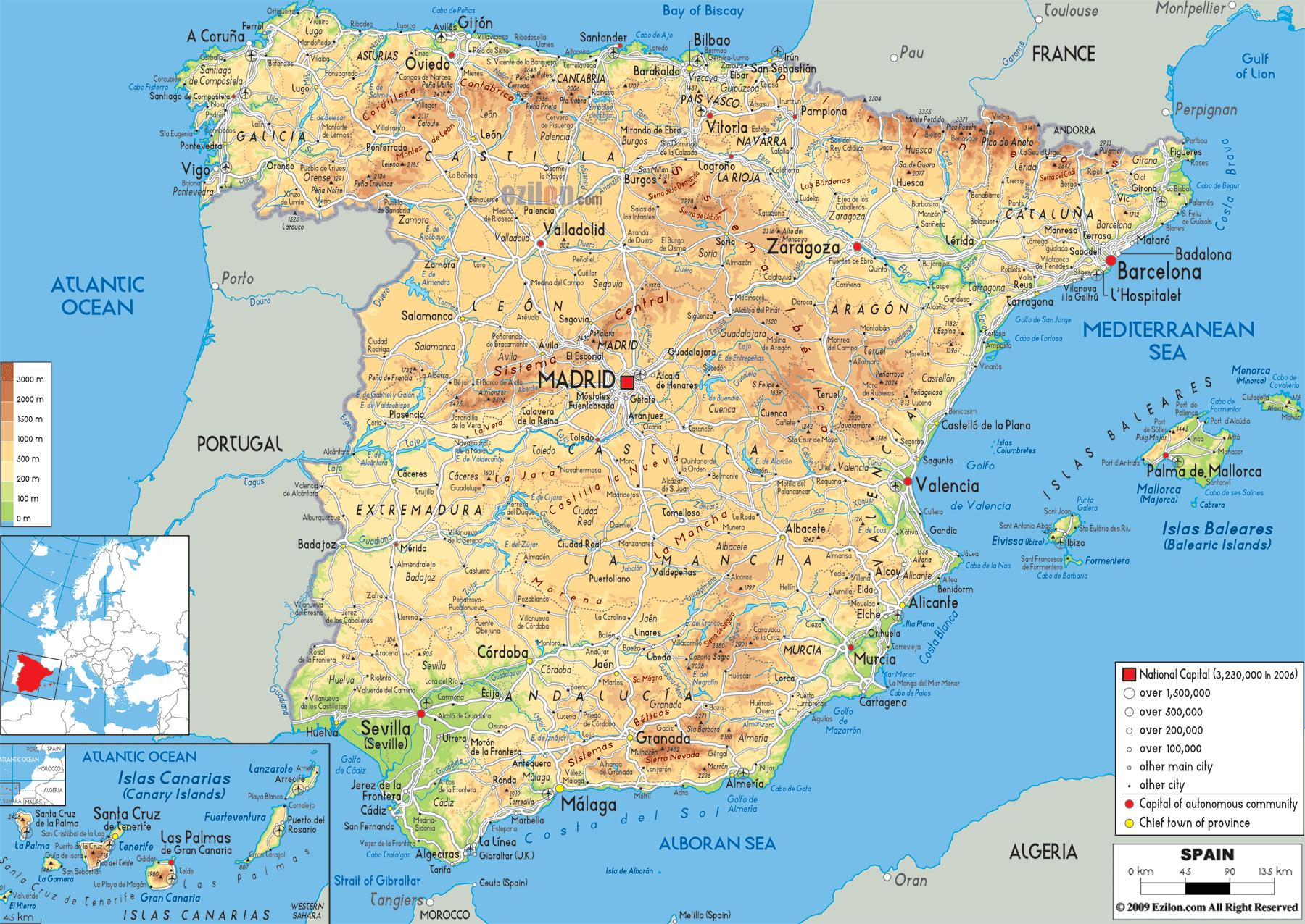 Cartina Mappa Spagna.Laghi In Spagna Mappa Cartina Della Spagna Laghi Europa Del Sud Europa