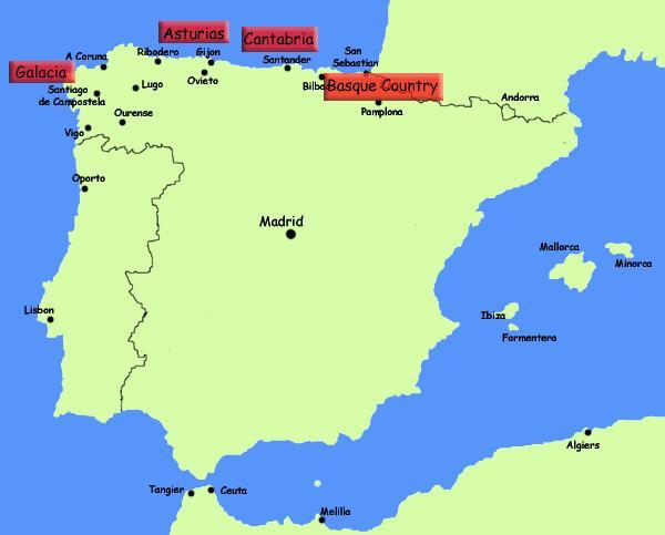 Cartina Della Spagna Del Sud.Mappa Del Nord Della Spagna E La Costa Nord Della Spagna E La Localita Di Mappa Europa Del Sud Europa