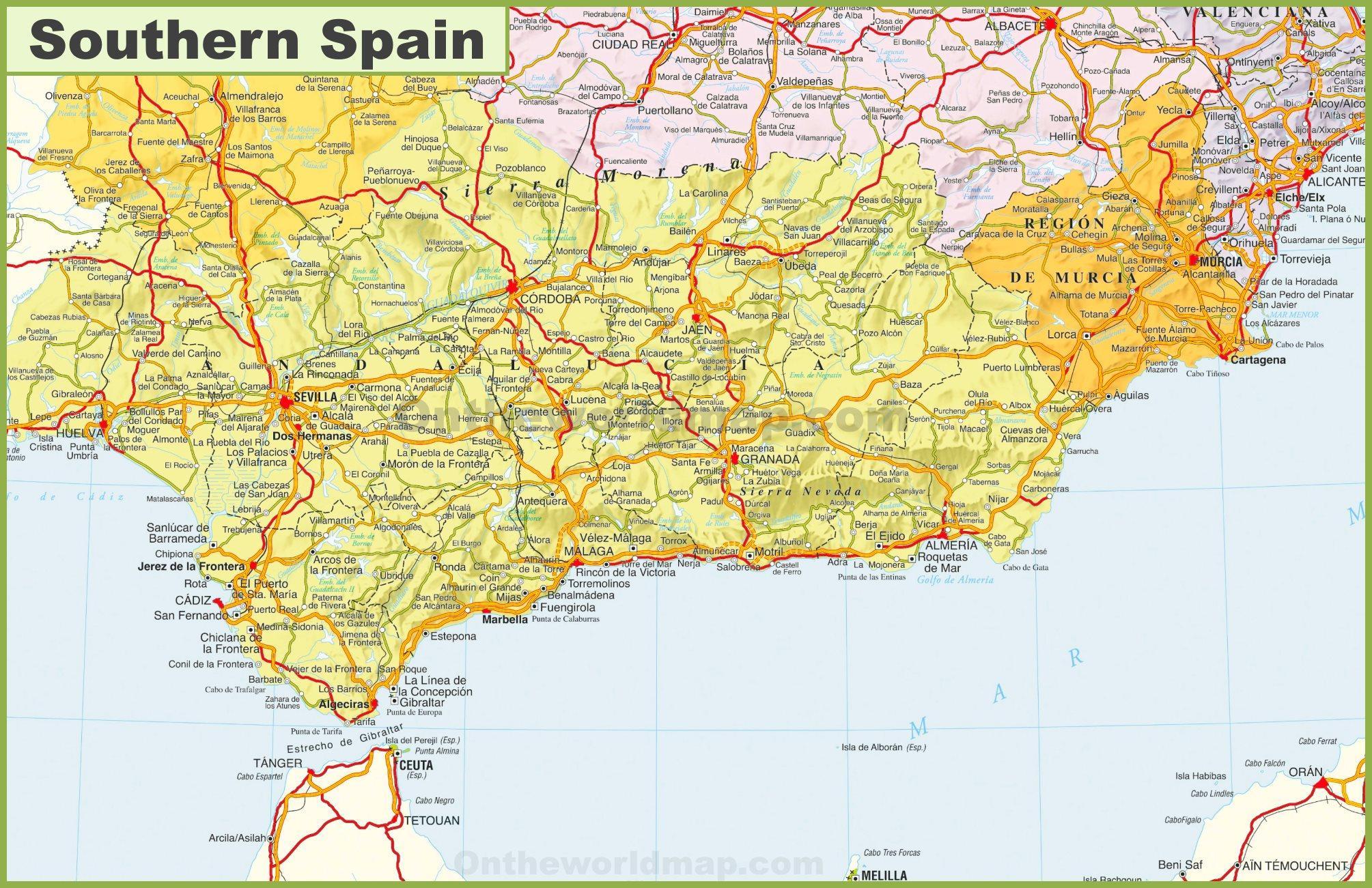 Spagna Sud Cartina.Mappa Del Sud Della Spagna Cartina Mappa Del Sud Della Spagna Europa Del Sud Europa