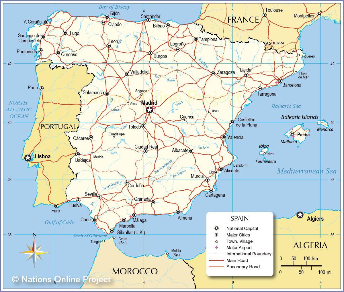 Cartina Stradale Spagna Del Sud.Mappa Stradale Spagna Cartina Della Spagna Street Europa Del Sud Europa