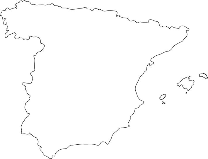 Cartina Italia Politica Vuota.Spagna Carta Fisica Muta