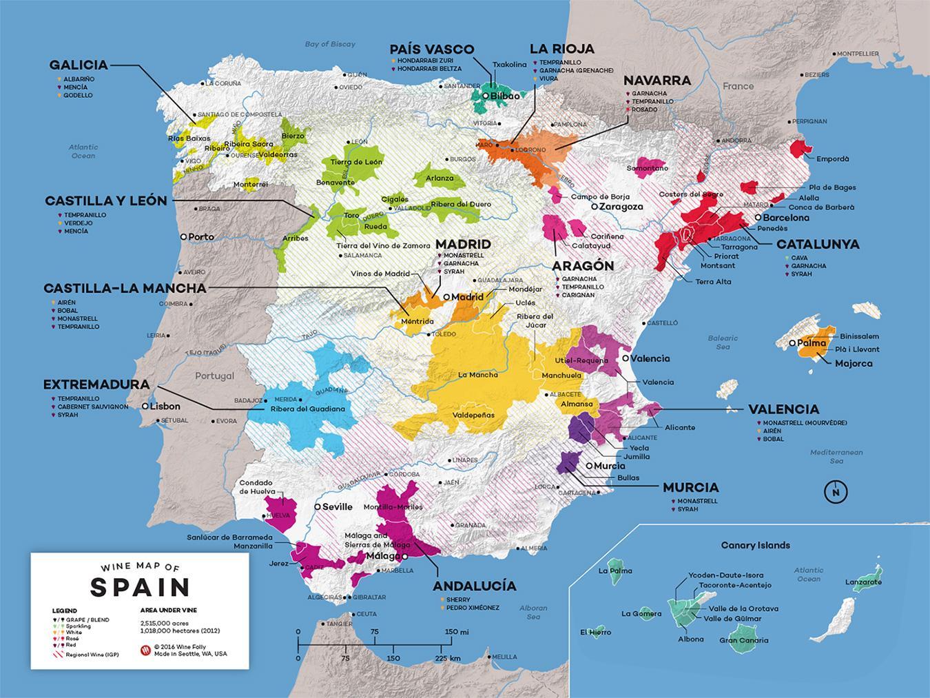 Cartina Geografica Spagna Del Sud.Spagna Mappa Del Vino I Vini Di Spagna Mappa Europa Del Sud Europa