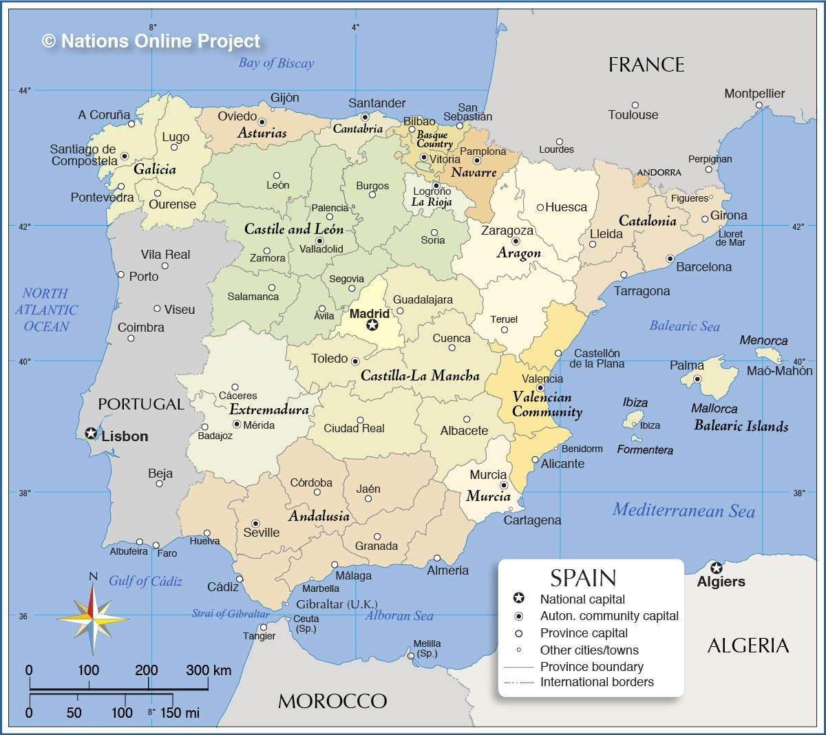 Le Regioni Della Spagna Cartina.Spagna Regioni Della Mappa Cartina Della Spagna Mostrando Regioni Europa Del Sud Europa