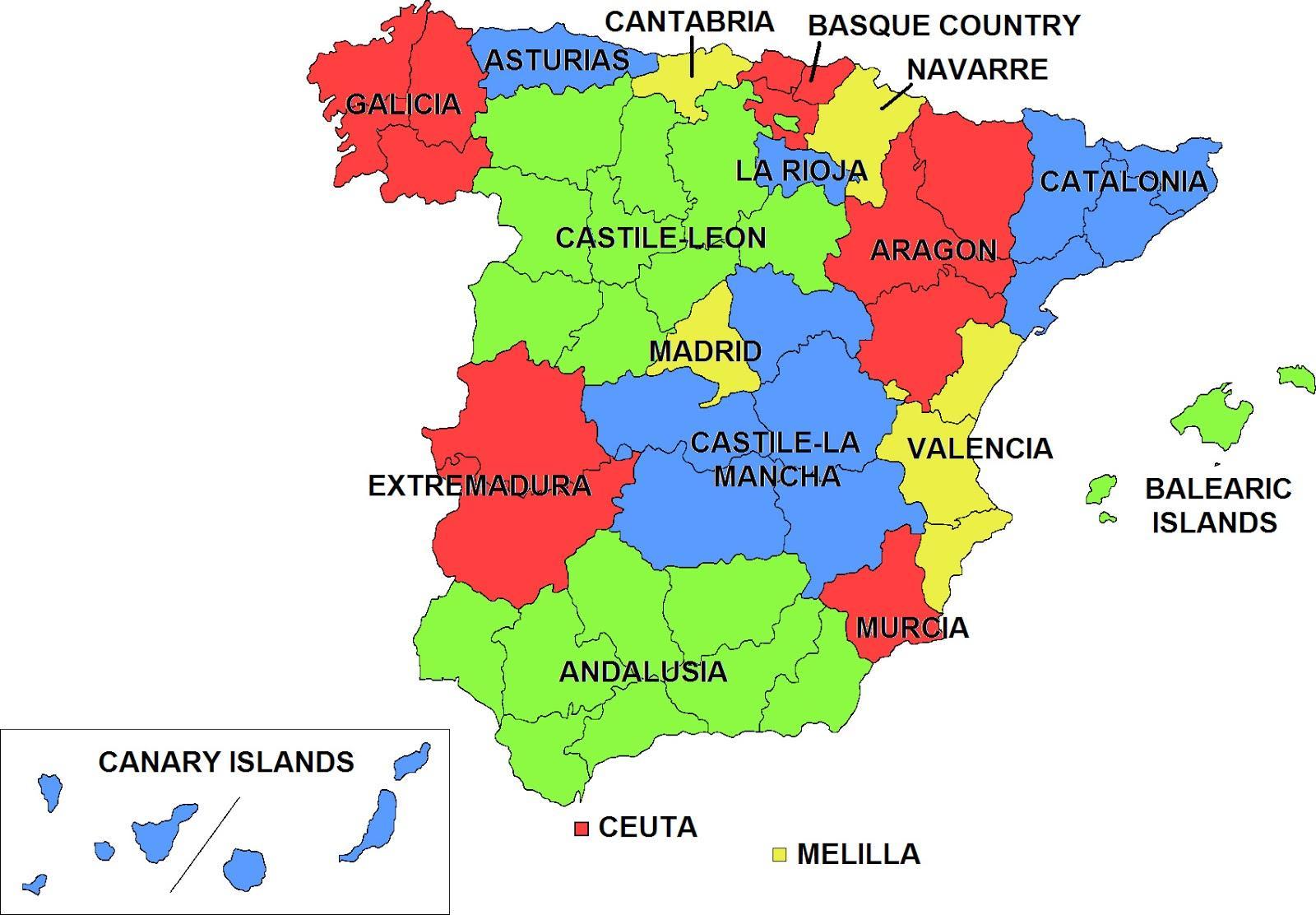 Le Regioni Della Spagna Cartina.Spagna Regioni Sulla Mappa Mappa Della Spagna E Regioni Europa Del Sud Europa