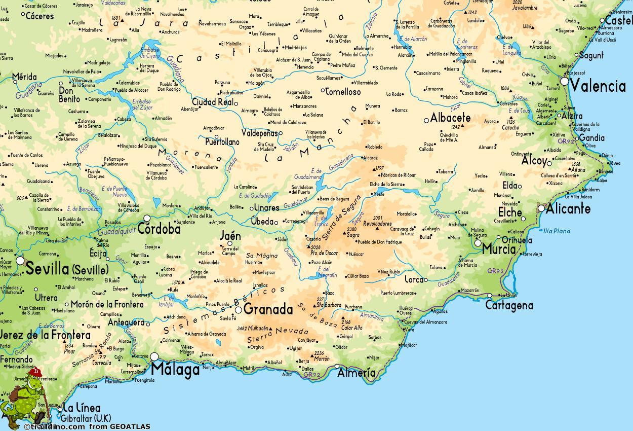 Cartina Stradale Spagna Del Sud.Sud Della Spagna Mappa Cartina Della Spagna Del Sud Europa Del Sud Europa