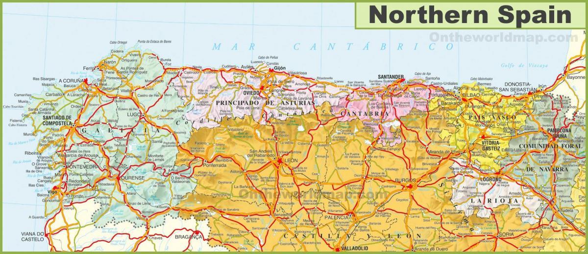 Nord Della Spagna Cartina.Mappa Del Nord Della Spagna Mappa Del Nord Della Spagna Con La Citta Europa Del Sud Europa