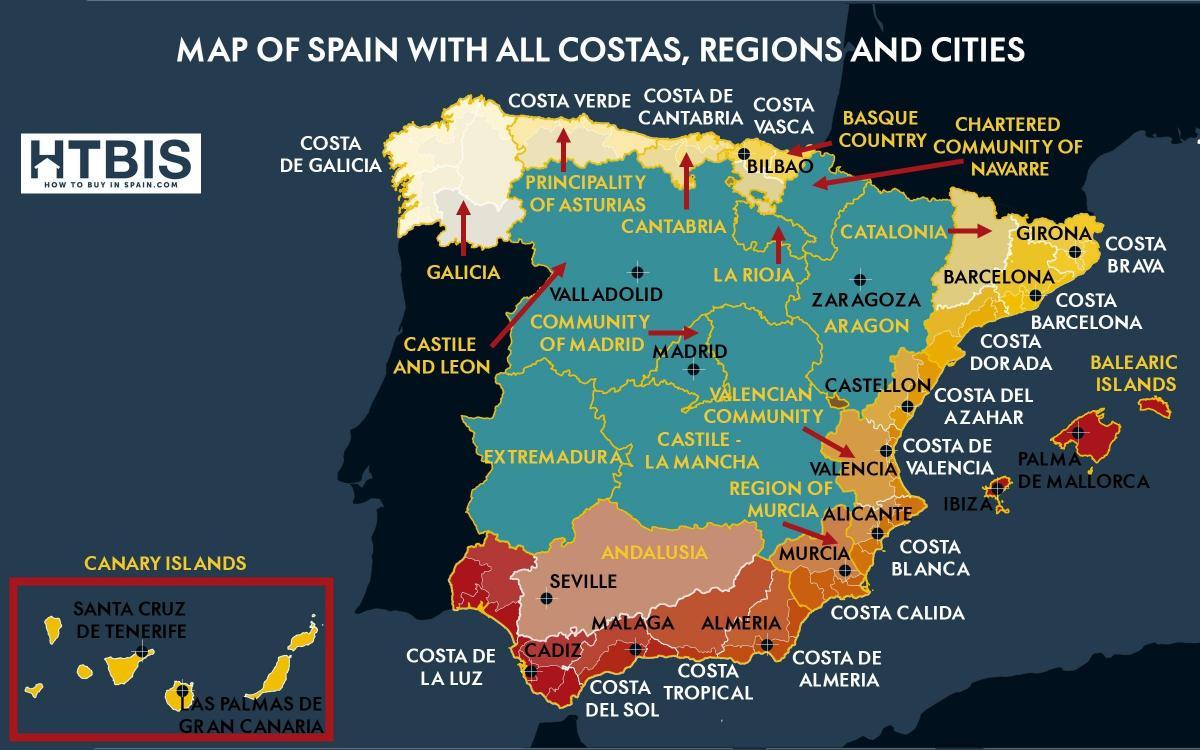 Cartina Della Spagna Del Sud.Mappa Della Spagna Meridionale Della Costa Mappa Del Sud Della Spagna La Costa Europa Del Sud Europa
