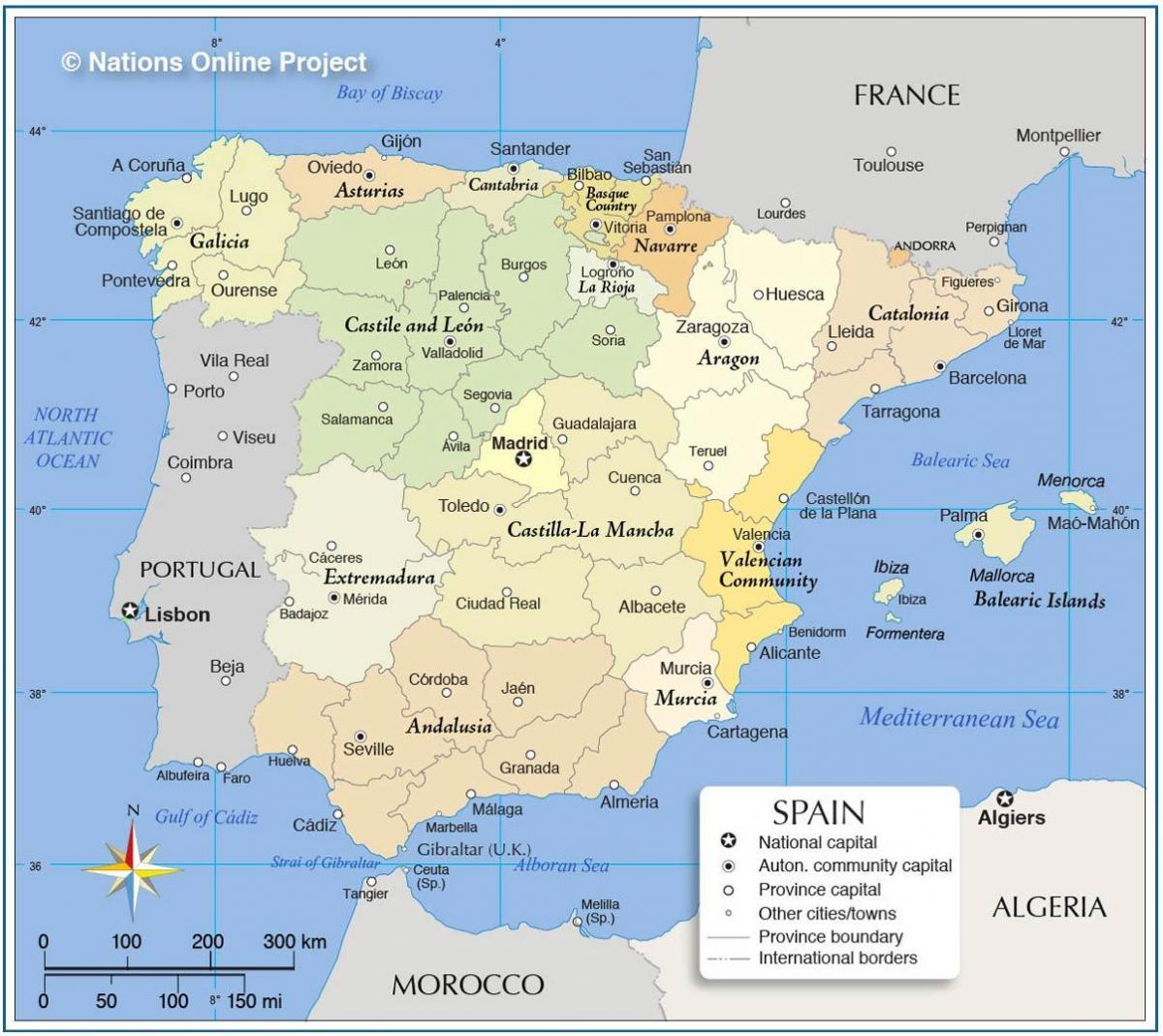 Spagna Sud Cartina.Mappa Politica Della Spagna Cartina Della Spagna Politico Europa Del Sud Europa