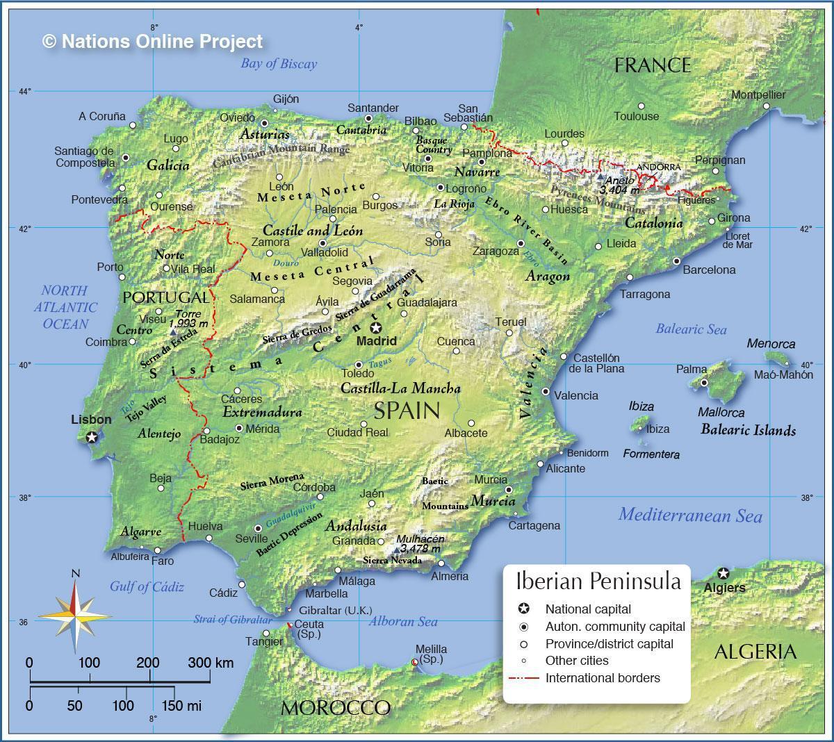 Spagna Sud Cartina.Spagna Altitudine Mappa Cartina Della Spagna Altitudine Europa Del Sud Europa