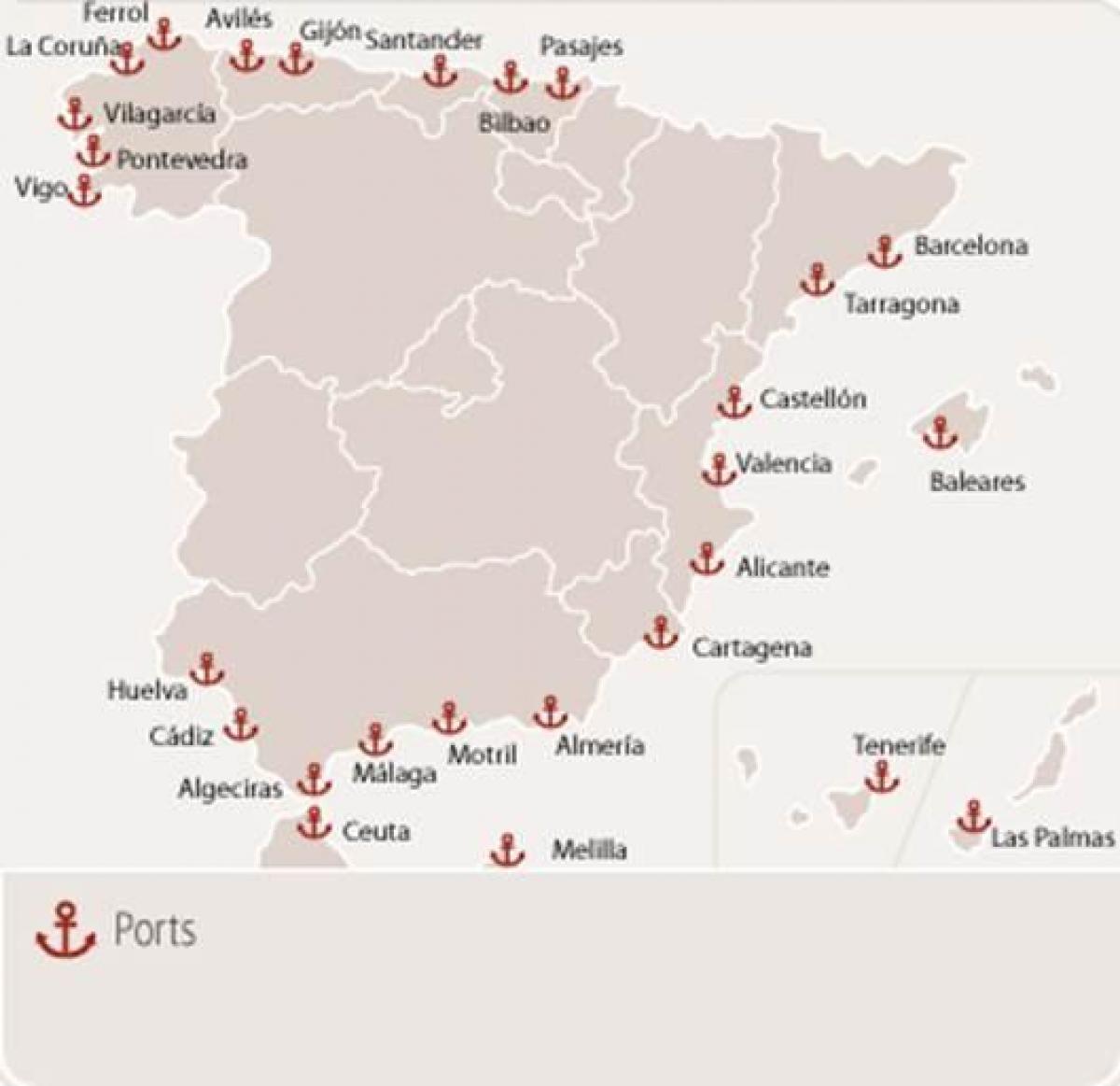 Bilbao Cartina Spagna.Spagna Porte Mappa Porti Di Traghetto In Spagna Mappa Europa Del Sud Europa